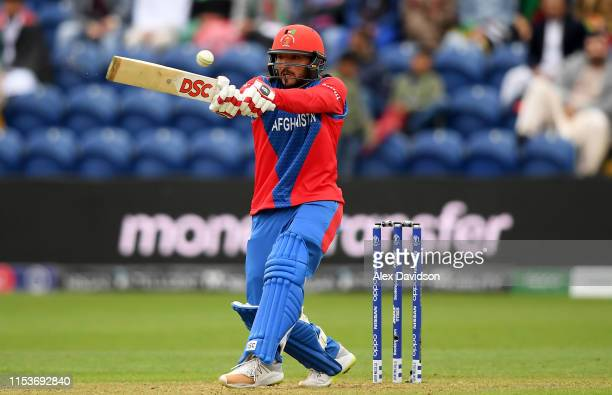 Gulbadin Naib of Afghanistan bats during the Group Stage match of the ICC Cricket World Cup 2019 between Afghanistan and Sri Lanka at Cardiff Wales...