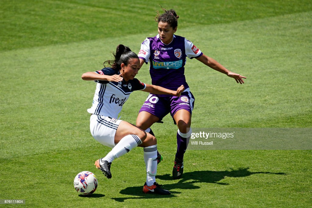 Gulcan Koca of the Victory controls the ball during the round four W-League match between Perth Glory and Melbourne Victory at nib Stadium on November 19, 2017 in Perth, Australia.