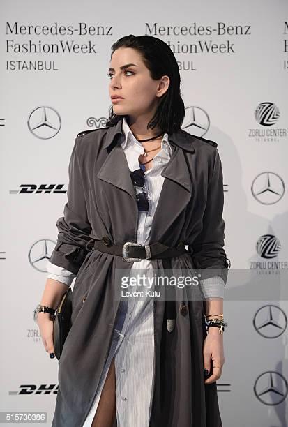 Gulce Dereli attends the Mercedes-Benz Fashion Week Istanbul Autumn/Winter 2016 at Zorlu Center on March 15, 2016 in Istanbul, Turkey.