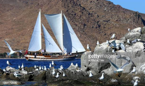 Gulettes the traditional and most popular cruise vessels of Turkey sail during the The Bodrum Cup 2018 off the shores of Bodrum on October 27 2018