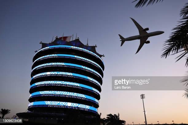 Gulf Air plane flies over the grid prior to the F1 Grand Prix of Bahrain at Bahrain International Circuit on March 28, 2021 in Bahrain, Bahrain.