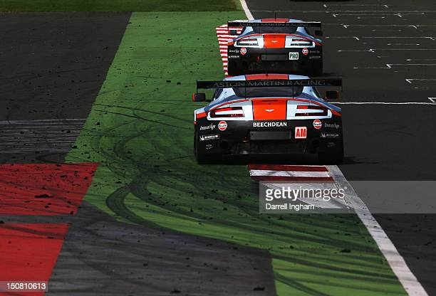 Gulf Aston Martin Racing Vantage V8's during the FIA World Endurance Championship 6 Hours of Silverstone race at the Silverstone Circuit on August 26...