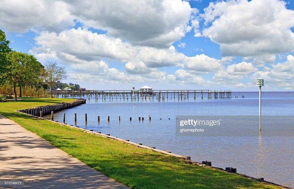 Gulf Coast View in Fairhope Alabama : Stock Photo