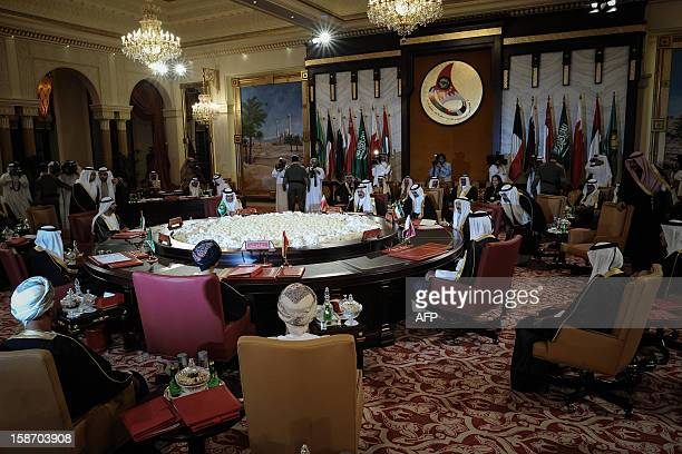 Gulf Cooperation Council leaders attend the opening of the six Gulf Cooperation Council states on the eve of the annual GCC summit at the Sakhir...