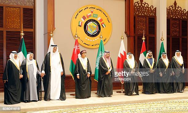 Gulf Cooperation Council leaders pose for a group picture during a GCC summit on December 6 in the Bahraini capital Manama British Prime Minister...