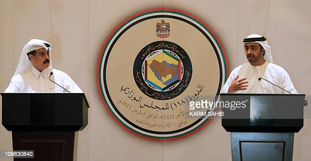 Gulf Cooperation Council's General Secretary Abdul Rahman bin Hamad AlAttiyah and United Arab Emirates' Foreign Minister Sheikh Abdullah bin Zayed...
