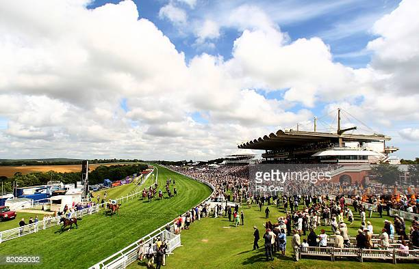 Gulf Express ridden by Ryan Moore leads home during the Bank of Scotland Investment Service Stakes run at Goodwood Racecourse on July 29 in Goodwood...
