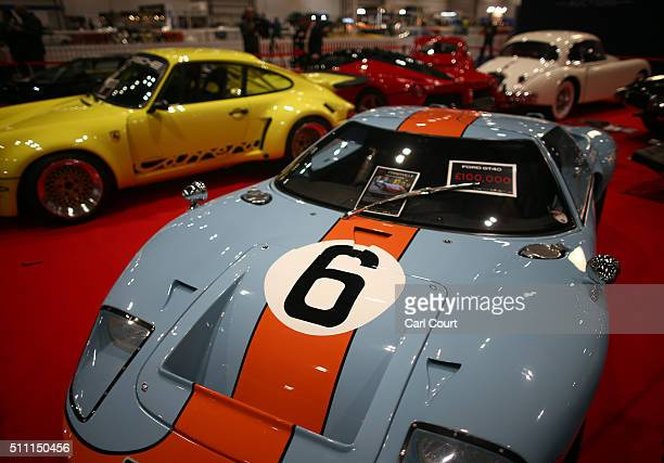 Gulf Ford GT40 displayed at the Classic Car Show at ExCel on February 18 2016 in London England The show features classic cars from around the UK and...