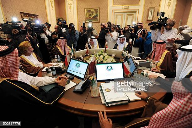 Gulf foreign ministers attend a meeting on December 7 2015 in the Saudi capital Riyadh a few days ahead of the Gulf Cooperation Council summit The...