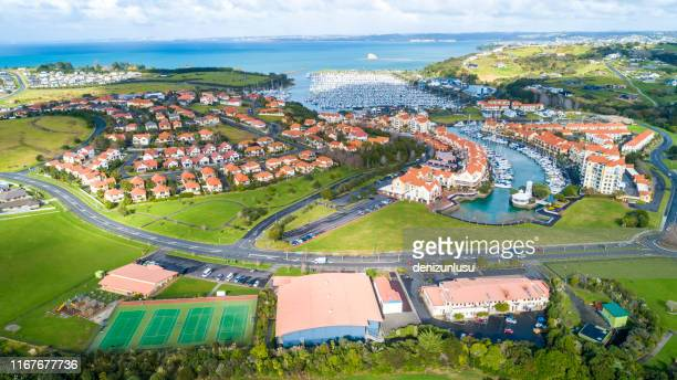 gulf harbour aerial view - country club stock pictures, royalty-free photos & images