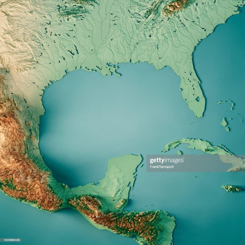 Colore Mappa Topografica Rendering 3d Golfo Del Messico Foto stock - Getty  Images