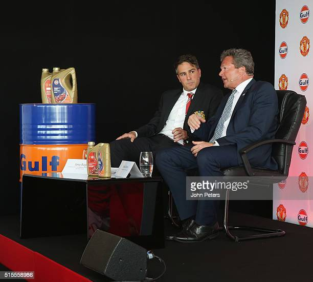Gulf Oil International vice president Frank Rutten and Jamie Reigle Manchester United Commercial Director are interviewed at the launch of a...