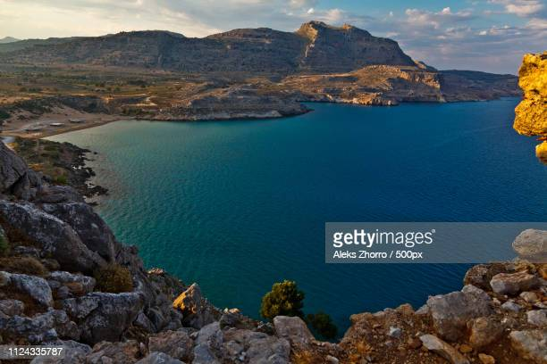 gulf - rhodes dodecanese islands stock photos and pictures