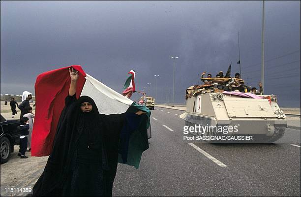 Gulf War Allied forces liberate Kuwait City Kuwait on February 27 1991 Residents of Kuwait City acclaim their liberators
