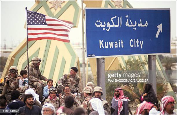 Gulf War Allied forces liberate Kuwait City Kuwait on February 27 1991 Residents of Kuwait City acclaim their liberarors