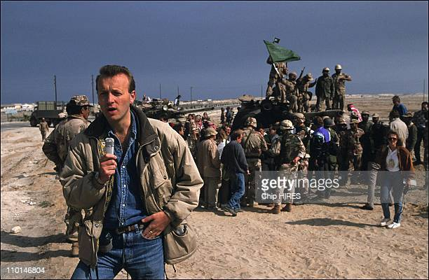 Gulf war Journalists in Al Khafji Saudi Arabia in February 07 1991