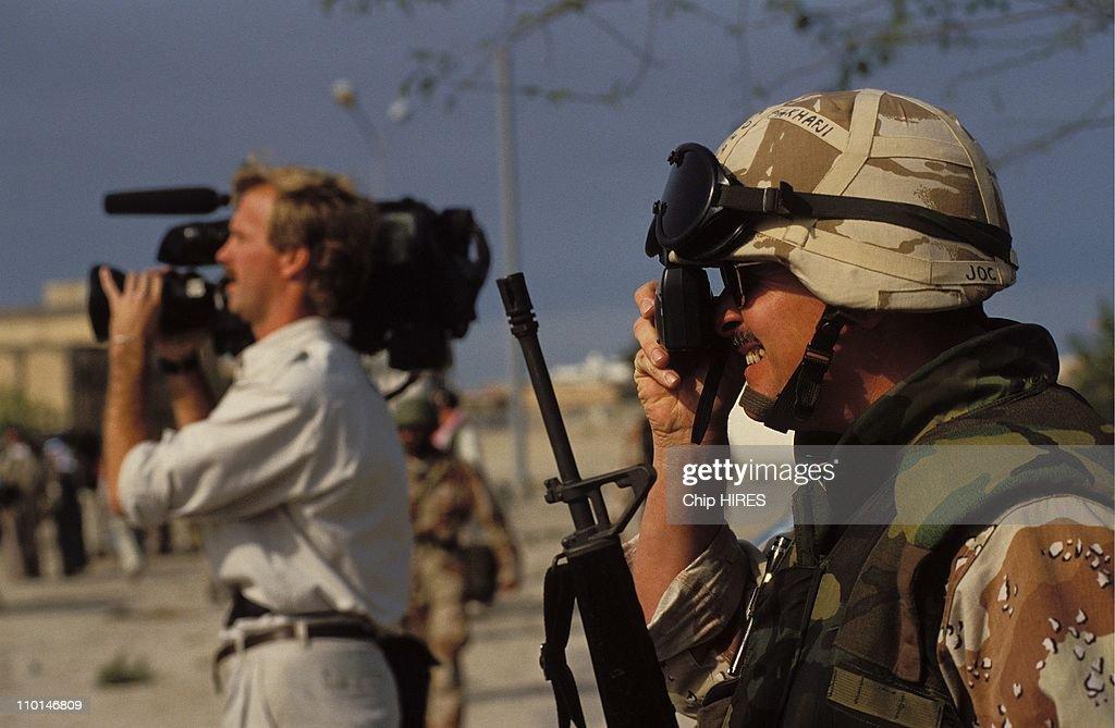 Gulf war: Journalists in Al Khafji, Saudi Arabia in February 07, 1991. : News Photo