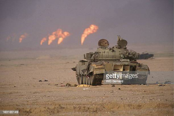 Gulf War Operation Desert Storm Guerre du Golfe l'offensive terrestre contre l'Irak a débuté le 24 février 1991 Un char face aux puits de pétrole...