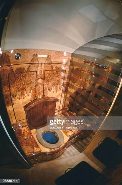 Gulfstream 500 lavatory with beautiful walnut wooden wall panels and mirrors of golfer Greg Norman's privatejet
