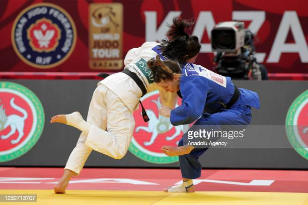 Gulkader Senturk of Turkey in action against Francesca Melani of Italy in their bout of the women's - 48 kg category at the Kazan Grand Slam 2021 at...