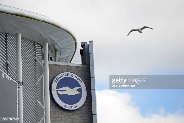 A gull flies past the stadium ahead of the English Premier League football match between Brighton and Hove Albion and Manchester City at the American...