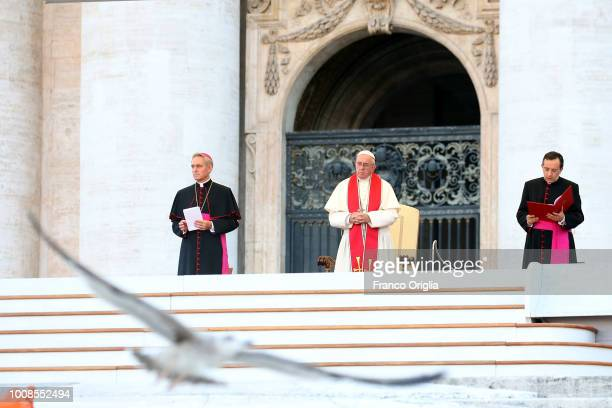 A gull flys in in St PeterÕs Square as Pope Francis attends an extraordinary audience to the altar servers on July 31 2018 in Vatican City Vatican...