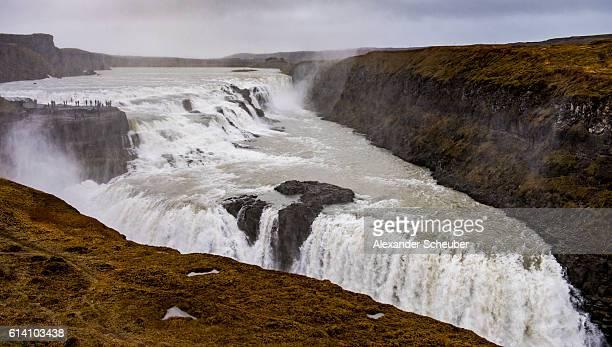 Gullfoss Falls are seen near to Selfoss Iceland
