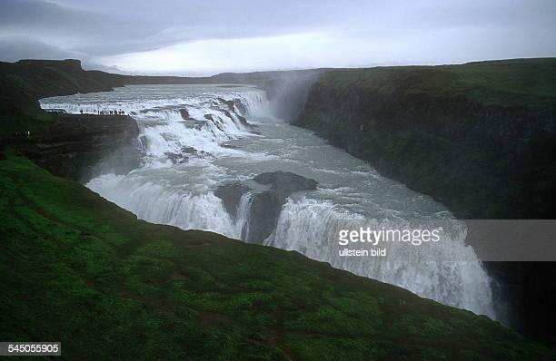 Gullfoss Wasserfall hier stürztdie Hvita 32m tief in die Schlucht 2001