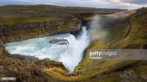 gullfoss waterfall in iceland. - gullfoss falls stock photos and pictures