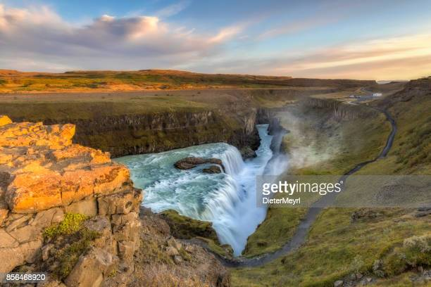 gullfoss waterfall in iceland - gullfoss falls stock photos and pictures