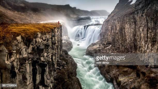 gullfoss waterfall in iceland. - islanda foto e immagini stock