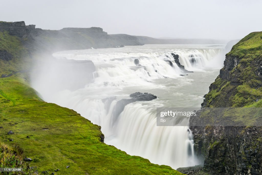 Gullfoss waterfall in Iceland seen from above on a cloudy stormy day : Stock Photo