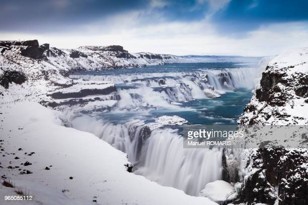 gullfoss waterfall in winter - gullfoss falls stock photos and pictures