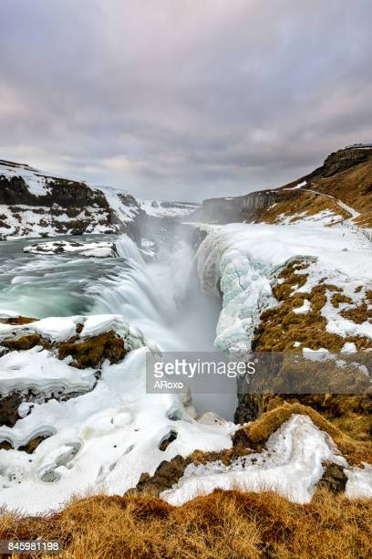gullfoss waterfall landscape at sunrise. iceland paradise. - gullfoss falls stock photos and pictures