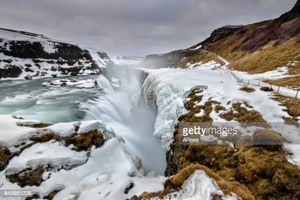 Gullfoss waterfall landscape at sunrise. Iceland paradise.
