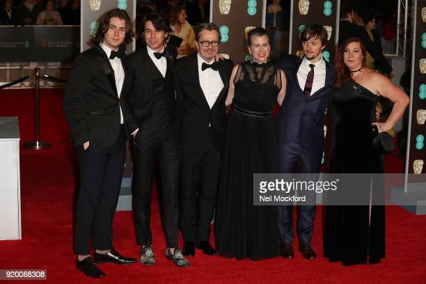 Gulliver Oldman Charlie Oldman Gary Oldman Gisele Schmidt and Alfie Oldman arrive at the EE British Academy Film Awards at the Royal Albert Hall on...