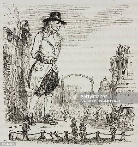 Gulliver standing up tied to a wall in the city of Lilliputians, illustration from Chapter One, Part I, A Voyage to Lilliput, Gulliver's travels into...