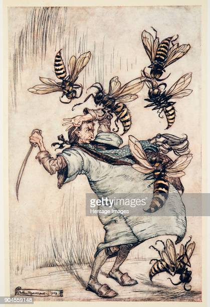 Gulliver's Combat with The Wasps from Gulliver's Travels by Jonathon Swift pub 1909