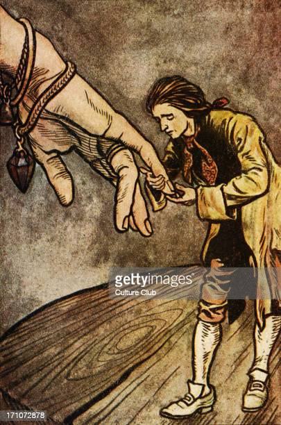 Gulliver's travels by Johnathan Swift First published in 1726 Caption Gulliver kisses the Queen's hand AngloIrish satirist essayist author poet...