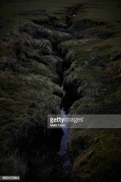 gully forming in wetlands on Terschelling, West Frisian Island, Netherlands