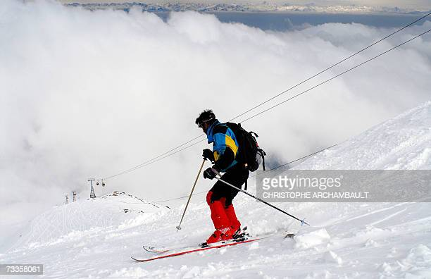 TO GO WITH STORY AFPLifestyleIndiaKashmirunresttourismskischedFEATURE This photograph taken 05 February 2007 an unidentified skier making his way...