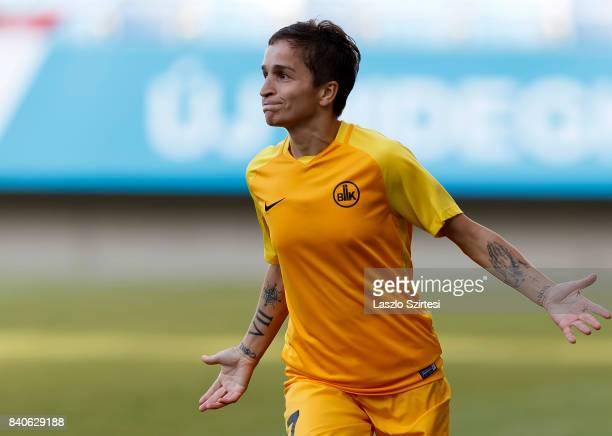 Gulnara Gabelia of WFC BIIKKazygurt celebrates her goal during the UEFA Women's Champions League Qualifying match between MTK Hungaria FC and WFC...