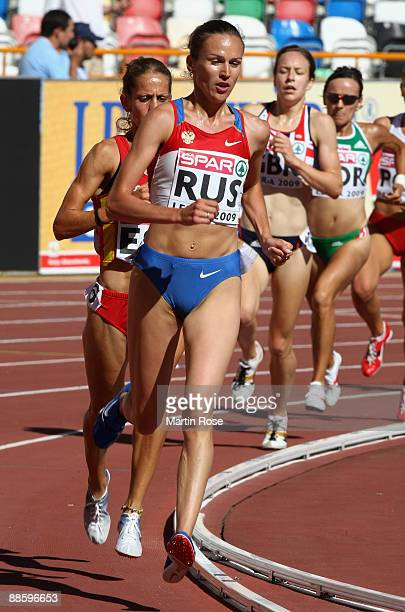 Gulnara GalkinaSamitova of Russia competes during the women's 3000m during day one at the Spar European Team Championship at the Estadio Municipal...