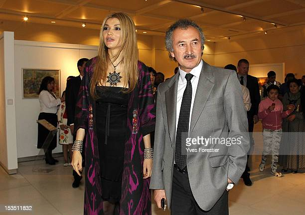 Gulnara Karimova Chairwoman of the Fund Forum Board of Trustees and painter Akmal Nur visit the exhibition during the StyleUz Art Week 2012 opening...
