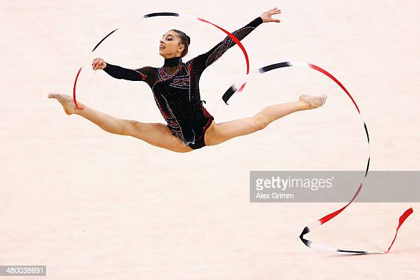 Gulsum Shafizada of Azerbaijan performs with the ribbon during the individual competition of the GAZPROM World Cup Rhythmic Gymnastics at Porsche...