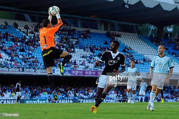 Guly do Prado of Southampton duels for a high ball with Sergio Alvarez of RC Celta de Vigo during a friendly match between RC Celta de Vigo and...