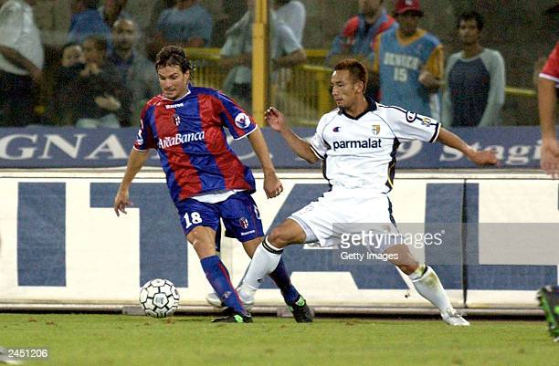 Guly of Bologna and Nakata of Parma during the Serie A first round match between 1909 Bologna and Parma held at Renato Dall'Ara Stadium on August 31...