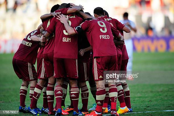 Gum and his teammates of Fluminense celebrate a a scored goal against Ponte Preta during a match between Fluminense and Ponte Preta as part of the...