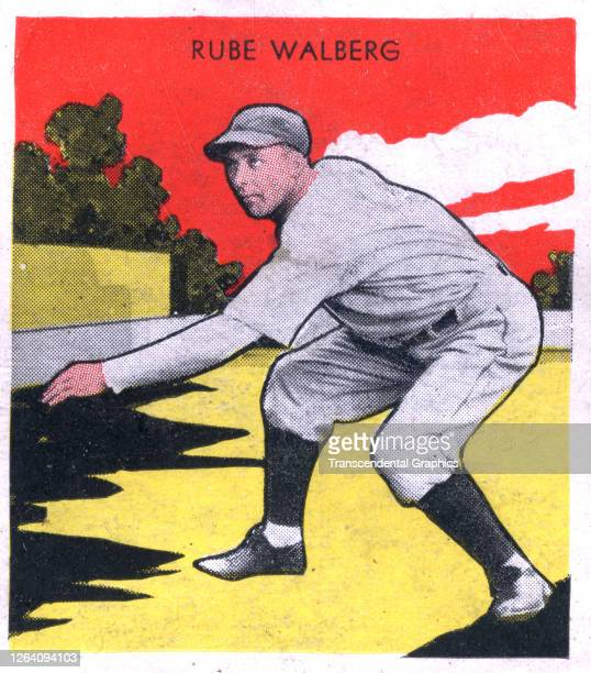A gum insert card features a colorized photograph of baseball player Rube Walberg of the Philadelphia Athletics 1933