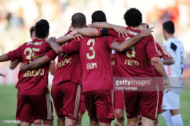 Gum of Fluminense and his teammates celebrate a goal against Ponte Preta during a match between Fluminense and Ponte Preta as part of the Brazilian...
